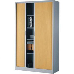 022-Armoire-haute-à-portes-rideaux---Gris-et-Hêtre